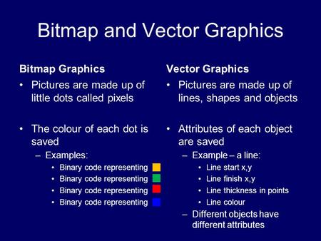 Bitmap and Vector Graphics Bitmap Graphics Pictures are made up of little dots called pixels The colour of each dot is saved –Examples: Binary code representing.
