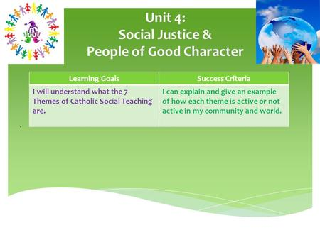 Unit 4: Social Justice & People of Good Character. Learning GoalsSuccess Criteria I will understand what the 7 Themes of Catholic Social Teaching are.