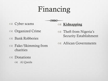 Financing  Cyber scams  Organized Crime  Bank Robberies  Fake/Skimming from charities  Donations  Al Qaeda  Kidnapping  Theft from Nigeria's Security.