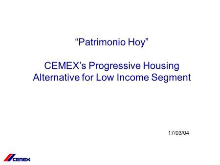 cemex and the low income construction