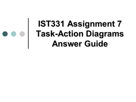 IST331 Assignment 7 Task-Action Diagrams Answer Guide.
