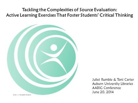 Tackling the Complexities of Source Evaluation: Active Learning Exercises That Foster Students' Critical Thinking Juliet Rumble & Toni Carter Auburn University.
