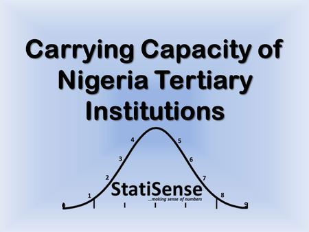 Carrying Capacity of Nigeria Tertiary Institutions.