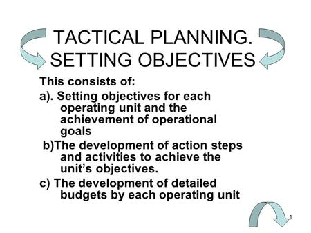 1 TACTICAL PLANNING. SETTING OBJECTIVES This consists of: a). Setting objectives for each operating unit and the achievement of operational goals b)The.