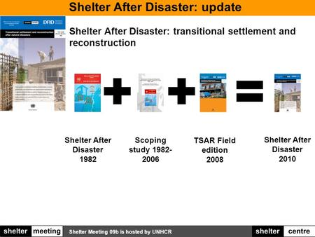 Shelter Meeting 09b is hosted by UNHCR Shelter After Disaster: update Shelter After Disaster: transitional settlement and reconstruction Shelter After.