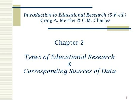 1 Chapter 2 Types of Educational Research & Corresponding Sources of Data Introduction to Educational Research (5th ed.) Craig A. Mertler & C.M. Charles.