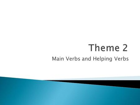 Main Verbs and Helping Verbs.  With a neighbor, see if the two of you can come up with the definition of a helping verb.  The helping verb comes before.