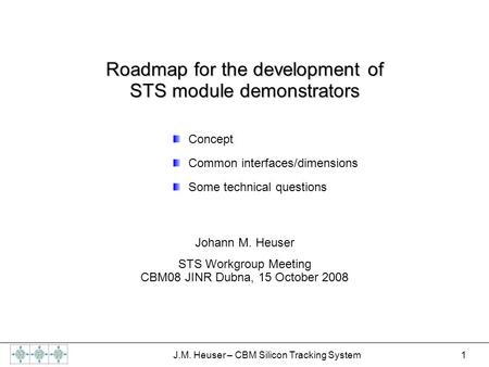 1 J.M. Heuser – CBM Silicon Tracking System Roadmap for the development of STS module demonstrators Concept Common interfaces/dimensions Some technical.