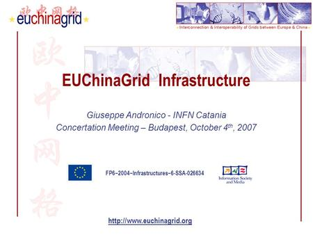 FP6−2004−Infrastructures−6-SSA-026634  EUChinaGrid Infrastructure Giuseppe Andronico - INFN Catania Concertation Meeting – Budapest,