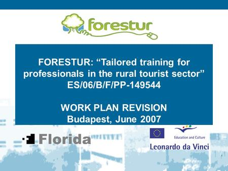 "FORESTUR: ""Tailored training for professionals in the rural tourist sector"" ES/06/B/F/PP-149544 WORK PLAN REVISION Budapest, June 2007."