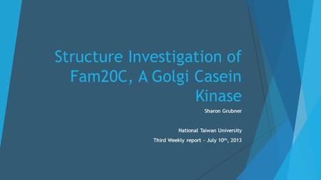 Structure Investigation of Fam20C, A Golgi Casein Kinase Sharon Grubner National Taiwan University Third Weekly report – July 10 th, 2013.