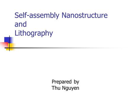 Self-assembly Nanostructure and Lithography Prepared by Thu Nguyen.
