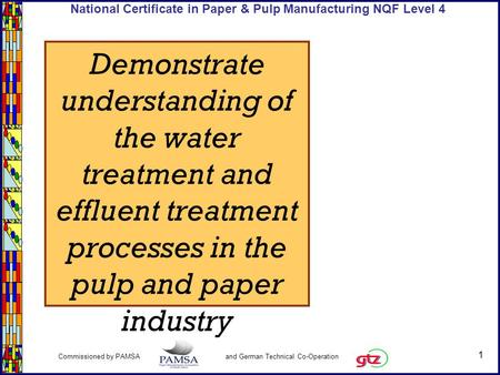 1 Commissioned by PAMSA and German Technical Co-Operation National Certificate in Paper & Pulp Manufacturing NQF Level 4 Demonstrate understanding of the.