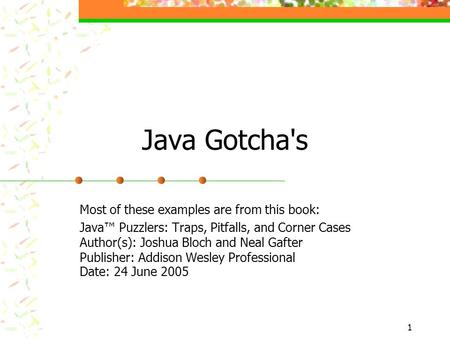 joshua bloch java puzzlers pdf