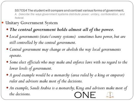 ONE Unitary Government System