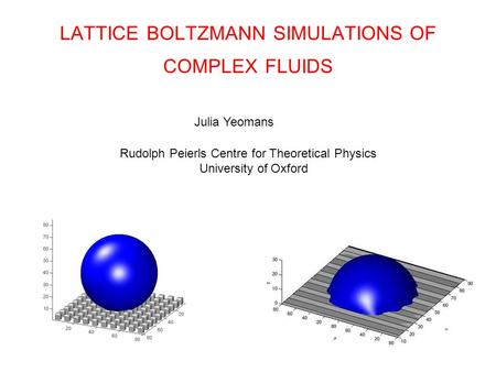 LATTICE BOLTZMANN SIMULATIONS OF COMPLEX FLUIDS Julia Yeomans Rudolph Peierls Centre for Theoretical Physics University of Oxford.