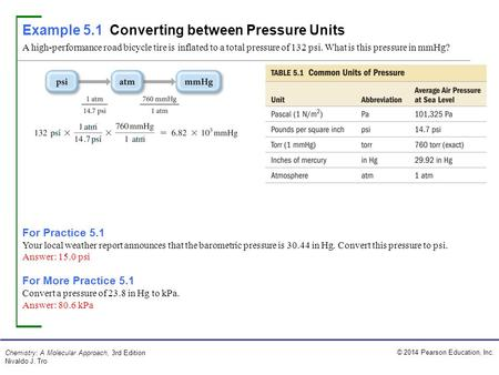 Example 5.1 Converting between Pressure Units