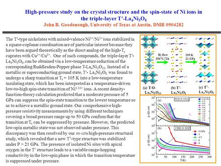 High-pressure study on the crystal structure and the spin-state of Ni ions in the triple-layer T′-La 4 Ni 3 O 8 John B. Goodenough, University of Texas.