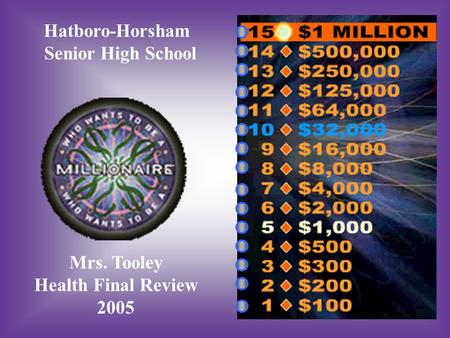 Hatboro-Horsham Senior High School Mrs. Tooley Health Final Review 2005.