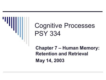 Cognitive Processes PSY 334 Chapter 7 – Human Memory: Retention and Retrieval May 14, 2003.