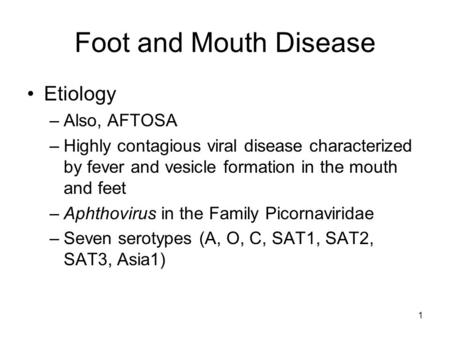 1 Foot and Mouth Disease Etiology –Also, AFTOSA –Highly contagious viral disease characterized by fever and vesicle formation in the mouth and feet –Aphthovirus.