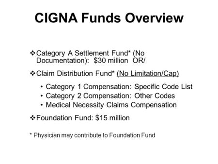 CIGNA Funds Overview  Category A Settlement Fund* (No Documentation): $30 million OR/  Claim Distribution Fund* (No Limitation/Cap) Category 1 Compensation: