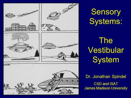 Sensory Systems: The Vestibular System Dr. Jonathan Spindel CSD and ISAT James Madison University.