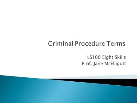 LS100 Eight Skills Prof. Jane McElligott.  A Miranda Warning is a statement police must read to a suspect prior to interrogation of the suspect once.