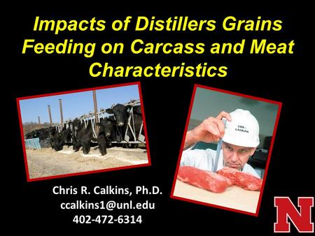 Chris R. Calkins, Ph.D. 402-472-6314 Impacts of Distillers Grains Feeding on Carcass and Meat Characteristics.