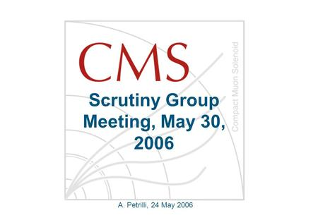 Scrutiny Group Meeting, May 30, 2006 A. Petrilli, 24 May 2006.