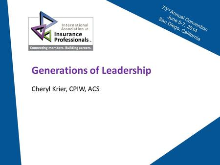 73 rd Annual Convention June 5-7, 2014 San Diego, California Generations of Leadership Cheryl Krier, CPIW, ACS.