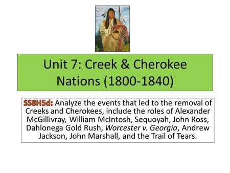 Unit 7: Creek & Cherokee Nations (1800-1840). KIM Vocabulary Strategy K =Key Vocabulary Word Example: William McIntosh I = Information/Definition Example: