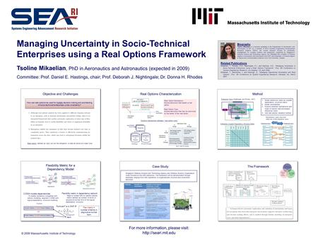 For more information, please visit:  Managing Uncertainty in Socio-Technical Enterprises using a Real Options Framework Tsoline Mikaelian,