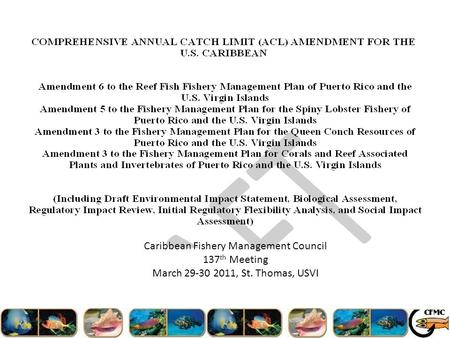 Caribbean Fishery Management Council 137 th Meeting March 29-30 2011, St. Thomas, USVI.