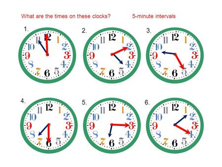 What are the times on these clocks?5-minute intervals 1. 2.3. 4. 5.6.