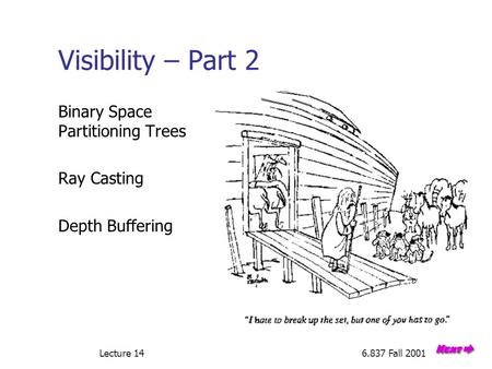 Lecture 146.837 Fall 2001 Visibility – Part 2 Binary Space Partitioning Trees Ray Casting Depth Buffering.