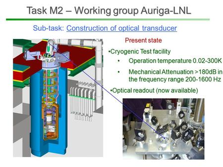 Task M2 – Working group Auriga-LNL Operation temperature 0.02-300KOperation temperature 0.02-300K Mechanical Attenuation >180dB in the frequency range.