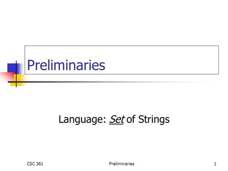 Language: Set of Strings