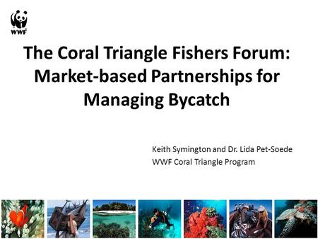 The Coral Triangle Fishers Forum: Market-based Partnerships for Managing Bycatch Keith Symington and Dr. Lida Pet-Soede WWF Coral Triangle Program.