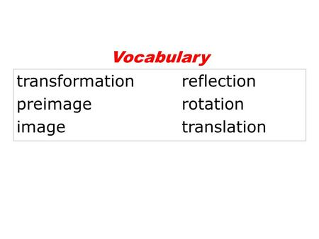 Vocabulary transformation		 reflection preimage			 rotation