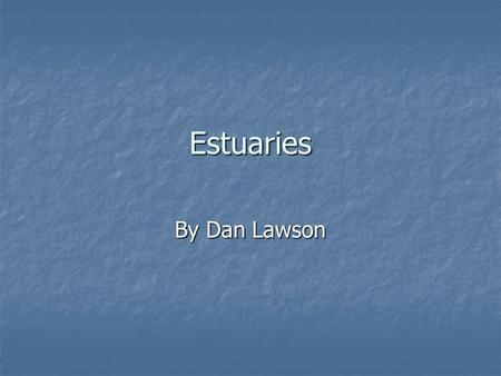 Estuaries By Dan Lawson. What is an estuary? An estuary is a coastal body of water which is openly connecting a freshwater stream with a saltwater environment.