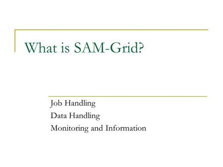What is SAM-Grid? Job Handling Data Handling Monitoring and Information.