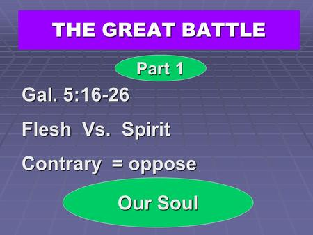THE GREAT BATTLE Gal. 5:16-26 Flesh Vs. Spirit Contrary = oppose
