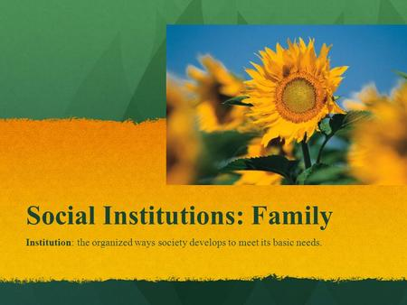 family social institution The aim of this article is to explore the relationship between two important social  institutions, namely the family and education such an analysis could.