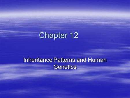 Chapter 12 Inheritance Patterns and Human Genetics.