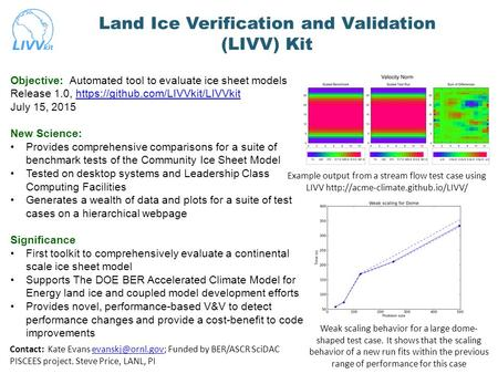 Land Ice Verification and Validation (LIVV) Kit Weak scaling behavior for a large dome- shaped test case. It shows that the scaling behavior of a new run.