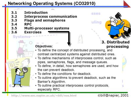 2001  Networking Operating Systems (CO32010) 1. Operating Systems 2. Processes and scheduling 4.