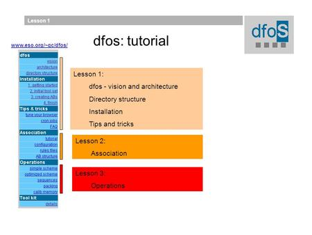 Lesson 1 Lesson 2: Association Lesson 1: dfos - vision and architecture Directory structure Installation Tips and tricks Lesson 3: Operations www.eso.org/~qc/dfos/