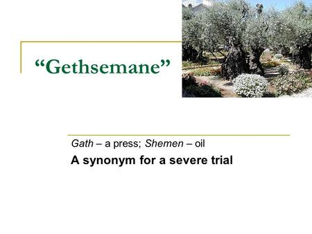 """Gethsemane"" Gath – a press; Shemen – oil A synonym for a severe trial."