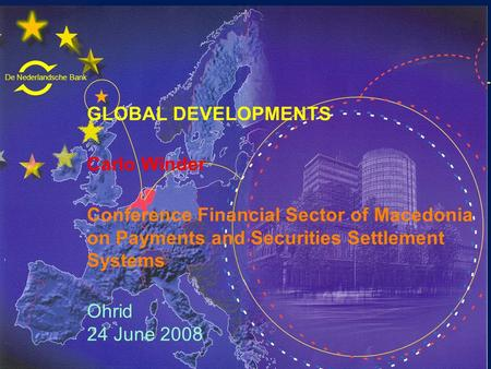 De Nederlandsche Bank Eurosysteem GLOBAL DEVELOPMENTS Carlo Winder Conference Financial Sector of Macedonia on Payments and Securities Settlement Systems.